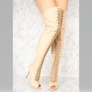 Nude Chain Accent Peep Toe Thigh High Heel Boots